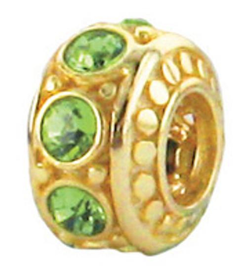 Zable august birthstone bead charm with peridot green CZ's, fits Pandora