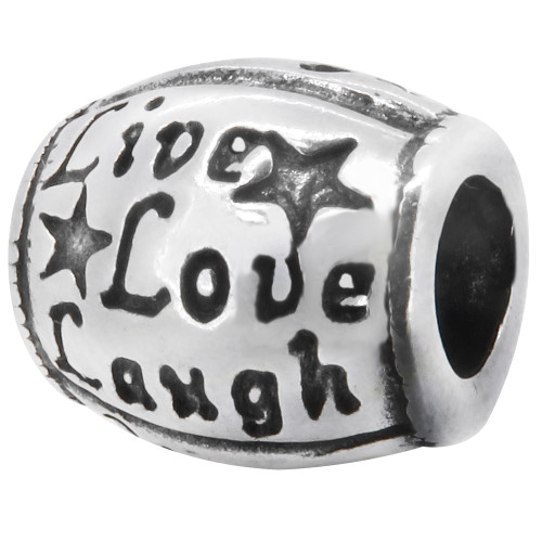 Zable Live Love laugh bead charm, fits Pandora, compatible with Pandora