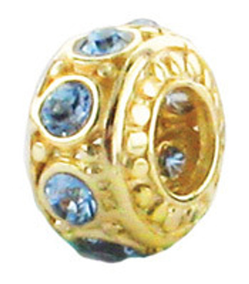ZABLE March Gold over Silver Birthstone Bead Charm BZ-3052