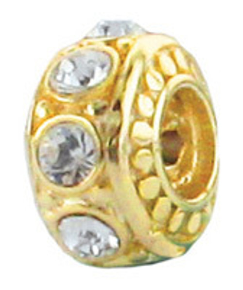 ZABLE April Gold over .925 Silver Birthstone Bead Charm BZ-3053