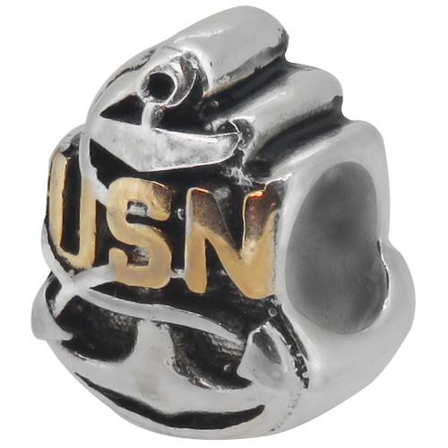 ZABLE U.S. Navy Bead Charm BZ-2035 fits pandora, compatible with pandora, like pandora.