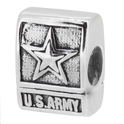 ZABLE US Army Emblem Bead Charm BZ-2034 fits pandora, like pandora, compatible with pandora.