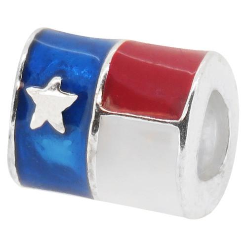 ZABLE Texas Flag Bead Charm BZ-1778 fits pandora, compatible with pandora.