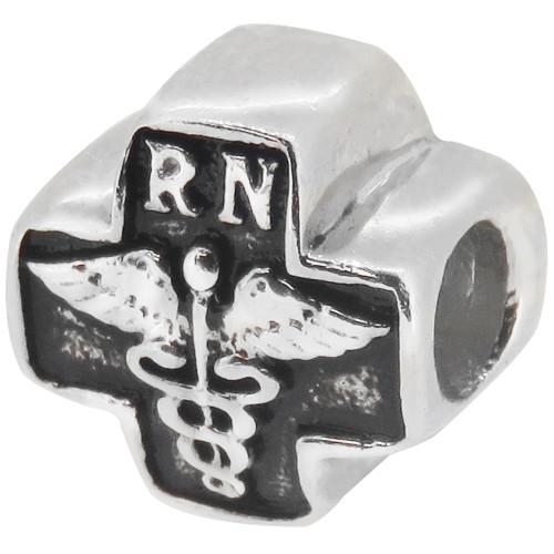ZABLE RN Nurse Symbol Bead Charm BZ-1716, fits Pandora.
