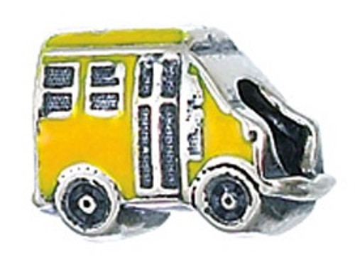 ZABLE Yellow School Bus Bead Charm BZ-2064, fits Pandora.