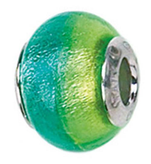 Zable Murano glass handmade bead charm in blue and green, fits Pandora
