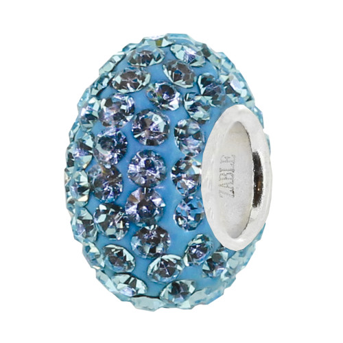 ZABLE December Blue Crystal Studded Bead Charm BZ-1081 fits Pandora
