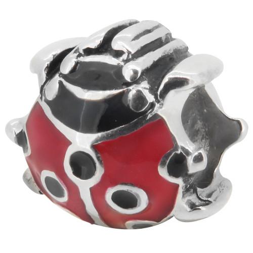 Zable bead charm red and black enameled Ladybug, fits Pandora, compatible with Pandora