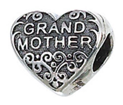 ZABLE Grandmother Heart Bead Charm BZ-2039