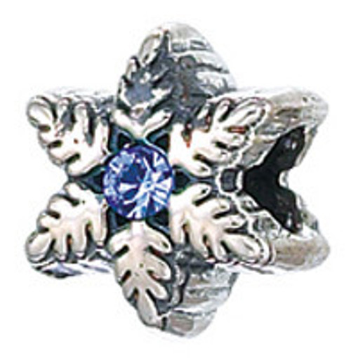 ZABLE Snowflake with Blue CZ Bead Charm BZ-2101