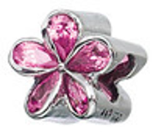 ZABLE Pink Plumeria CZ Bead Charm BZ-799 fits Pandora
