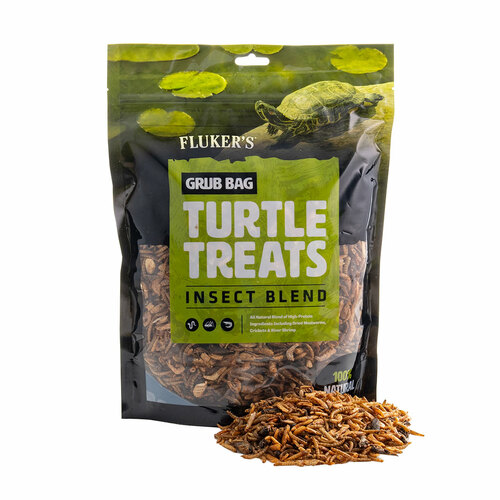 Grub Bag Turtle treats 12oz bag of Insect Blend with a detail photo of contents.