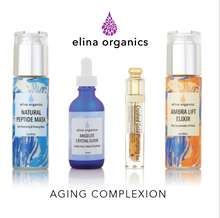 Aging Complexion Set: Natural Peptide Mask, Angelite Crystal Elixir, Crushed Gold Plumping, Ambra Lift Elixir