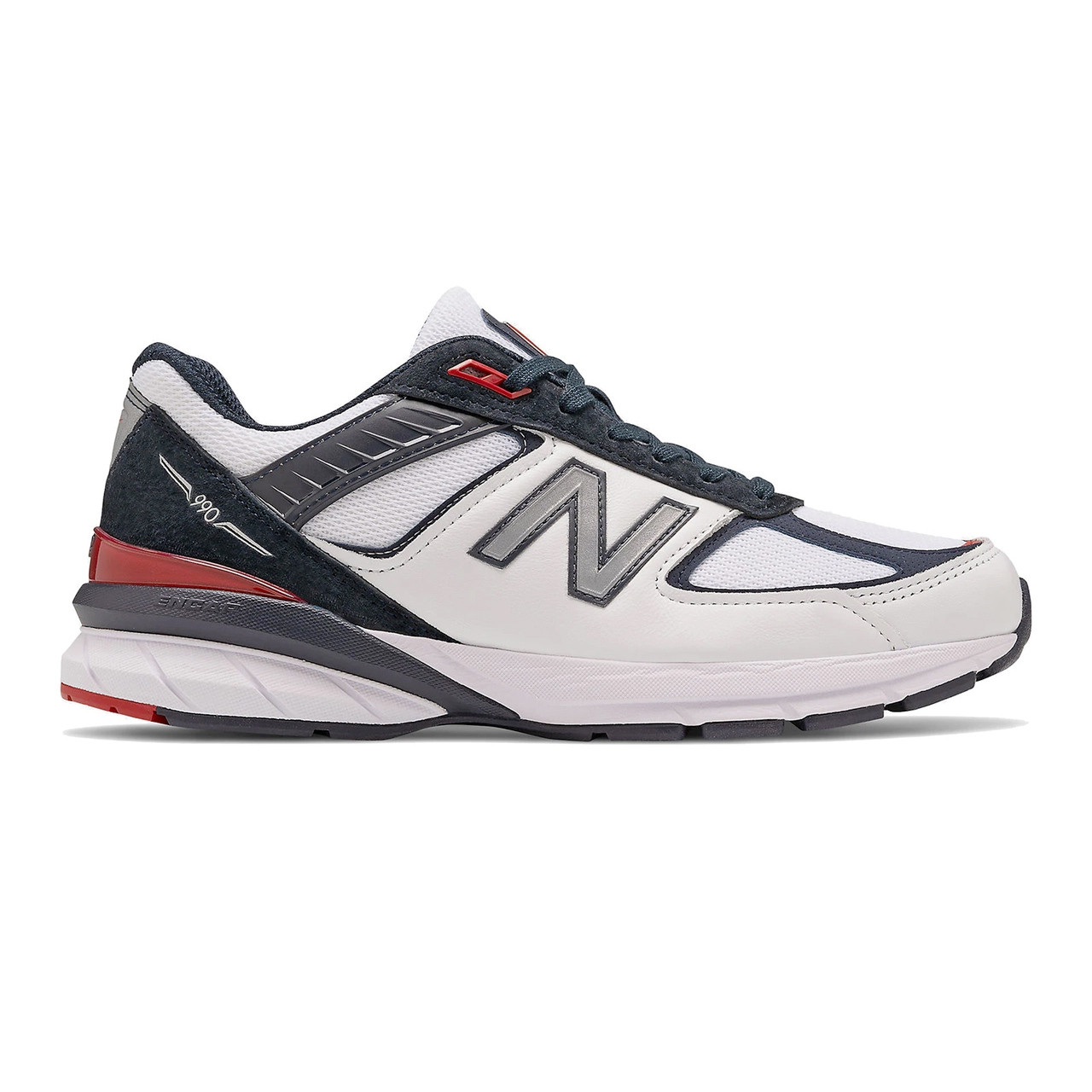 New Balance Men's Made In US 990v5 Running - Carbon with Team Red and White