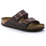 Birkenstock Arizona Soft Footbed - Habana Oiled Leather (Narrow Width) - 452763 - Angle