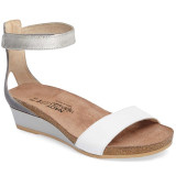 Naot Women's Pixie Ankle Strap Sandal - White / Vintage Slate / Silver