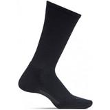 Feetures Men's Everyday Casual Rib Cushion Crew Socks - Black   - LM10101 - Profile
