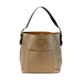 Joy Susan Classic Hobo Handbag - Bronze / Black - Profile