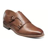 Stacy Adams Men's Plain Toe Double Monk Strap - Cognac