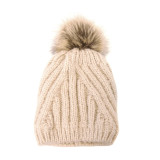 Joy Susan Women's Diagonal Knit Pom Pom Hat - Ivory - G9864-01 - Profile