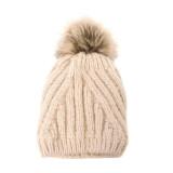 Joy Susan Women's Diagonal Knit Pom Pom Hat - Ivory - G9864-01 - Profile