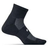 Feetures High Performance Cushion Quarter Crew Socks - Black - FA2001
