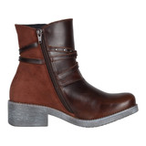 Naot Women's Bohemian Poet Boot - Soft Brown Leather / Rust Suede / Mirror - 17605-SHC - Profile