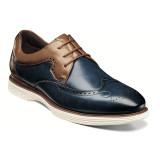 Stacy Adams Men's Regent Wingtip Oxford - Ink Blue & Tan - 25269-404 - Angle