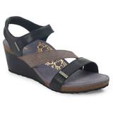 Aetrex Women's Brynn Quarter Strap Wedge Sandal - Black - EW110 - Main