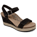 Aetrex Women's Sydney Quarter Strap Espadrille Wedge - Black - EW700 - Main
