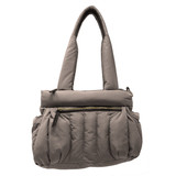 Sondra Roberts Quilted Puff Handbag - Taupe - Front