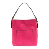 Joy Susan Classic Hobo Handbag - Fuchsia / Coffee - Profile
