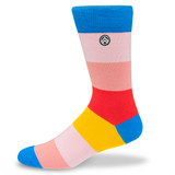 Sky Outfitters Crew Socks - Colorful Block Stripes - Profile