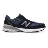 New Balance Men's Made In US 990v5 Running - Navy with Silver - Profile