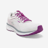Brooks Women's Ghost 12 - White / Grey / Hollyhock - 120305-186 - Angle