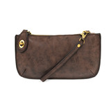 Joy Susan Lux Crossbody Wristlet Clutch - Chocolate - Profile