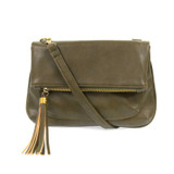 Joy Susan Alice Crossbody with Tassel Handbag - Olive - Profile