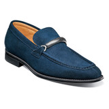 Stacy Adams Pasqual Moc Toe Bit Slip-On - Navy Suede - 25332-415 - Angle