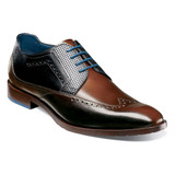 Stacy Adams Men's Rooney Wingtip Oxford - Brown with Blue - 25323-200 - Angle