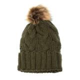 Joy Susan Cable Knit Pom Pom Hat - Olive