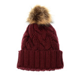 Joy Susan Cable Knit Pom Pom Hat - Burgundy - G9863-53 - Profile