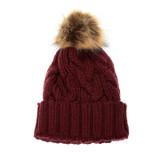Joy Susan Cable Knit Pom Pom Hat - Burgundy - G9863-53 - Profile