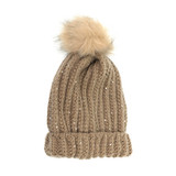 Joy Susan Knit Sparkle Pom Pom Hat - Khaki - G9872-02 - Profile