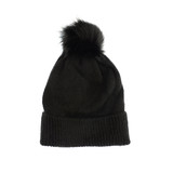 Joy Susan Fine Rib Knit Pom Pom Hat - Black - Profile