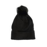 Joy Susan Fine Rib Knit Pom Pom Hat - Black - Profile