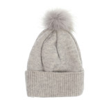 Joy Susan Fine Rib Knit Pom Pom Hat - Grey - Profile