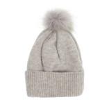 Joy Susan Fine Rib Knit Pom Pom Hat - Grey - Profile