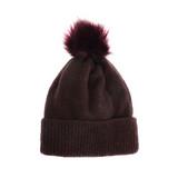 Joy Susan Fine Rib Knit Pom Pom Hat - Aubergine - Profile