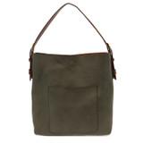Joy Susan Classic Hobo Handbag - Dark Olive / Brown - Profile