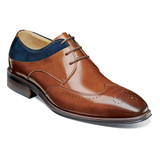 Stacy Adams Men's Hewlett Wingtip Oxford - Cognac Multi - 25314-229 - Angle